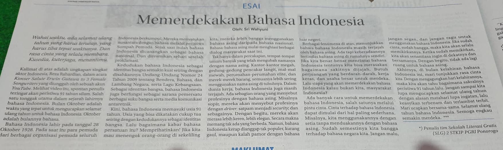 [Opini] Memerdekakan Bahasa Indonesia