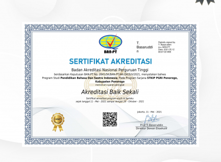 Peringkat Akreditasi BAIK SEKALI Prodi PBSI